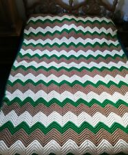 "Vintage Handmade Crochet Granny Afghan Lap Blanket Throw 60X84"" ONE OWNER"