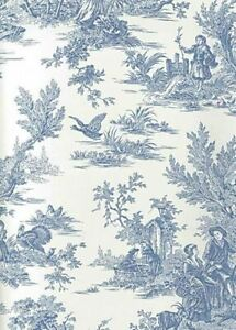 Blue & Soft White Colonial Toile Sure Strip Wallpaper AT4229