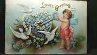 LOVE'S GREETING Vintage Valentine Post Card Cupid unlocking heart, lovebirds