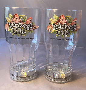RainForest Cafe Tall Plastic Light Up LED Glasses Set of 2 Excellent Condition