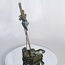 "MARK HOPKINS Cast Bronze Golf Sculpture ""CLUBS"" Limited Edition 1989"