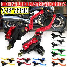 Motorcycle Dual Hydraulic Brake Clutch Master Cylinder Reservoir Lever Perch
