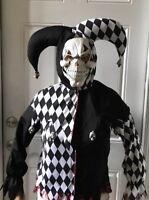 Child Black/White Evil Jester Costume XL 12-14 Halloween