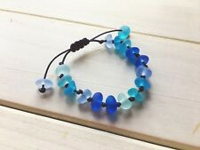 Handmade Blue Beach Sea Glass Bracelet, Adjustable String Knot Sennit Jewelry