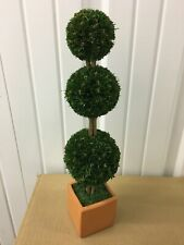 "Set of 5 3-ball tier Topiary Trees in terra cotta pot 4"" x 14"""