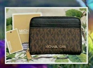 NWT MICHAEL KORS JET SET Travel MED Zip Around Card Case Wallet In BROWN & BLACK