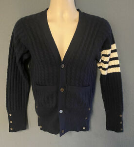 Thom Browne  4 Bar Thick Knit 100% Cashmere Cardigan Size 3