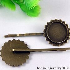 51055 Vintage Bronze Alloy Hair Clip Cameo Setting Crafts Charms Pendants 15x