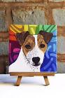 Jack Russell Terrier Ceramic Coaster Tile Brown/White