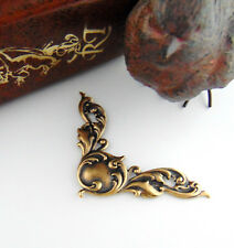 ANTIQUE BRASS (2 Pieces) Scroll CORNER Stampings Oxidized Finding (C-1104)