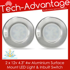 2 x 12v 4 Watt Aluminium Surface Mount Interior Boat Cabin LED Round Light
