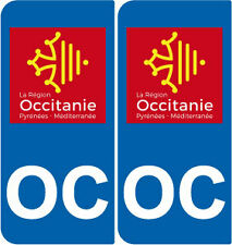 2 Stickers autocollant plaque immatriculation Auto OC Occitanie LogoType GAUCHE