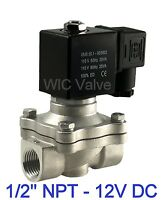 """Stainless Steel Electric Air Water Solenoid Valve NC 1/2"""" Inch 12V DC Viton Seal"""