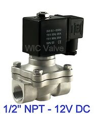"Stainless Steel Electric Air Water Solenoid Valve NC 1/2"" Inch 12V DC Viton Seal"