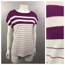46a4966182c92 1980s Boatneck Blouse Top / Purple White Stripe Shirt Retro / Women's Large