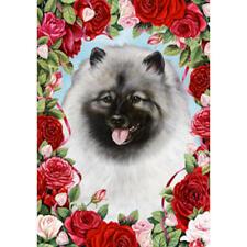 Keeshond Valentine Roses Flag