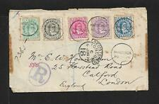 COOK IS. TO UK REGISTERED COVER 1894 RAROTONGA