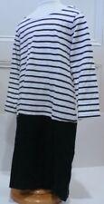 GAP KIDS Navy Blue & White Knit Stripe Long Sleeve Drop Waist Dress Sz S 6-7