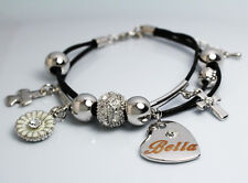 BELLA Nom Bracelet Breloque Cœur 18 carats Plaqué Or Blanc élément Swarovski