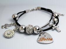 BELLA Name Bracelet Heart Charm 18ct White Gold Plated Swarovski Element Leather