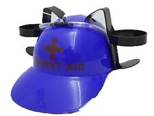 Blue + Beer 2 x Can Drinking Helmet Holder Hat Stag Hen Party Disco Toys Adults