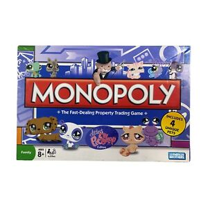 Littlest Pet Shop MONOPOLY Edition Family Board Game 2008 Complete with 4 Pets