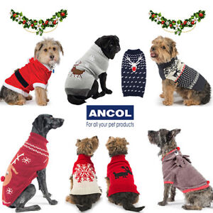 Ancol Christmas Dog Jumper Xmas Warm Cosy Sweater Snowflake Reindeer Cute Gift