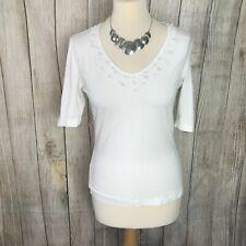 Gorgeous White TAIFUN Beaded T-Shirt Top VGC
