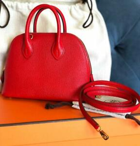 Brand New Hermes Bolide Mini Red Rouge De Coeur Gold Hardware