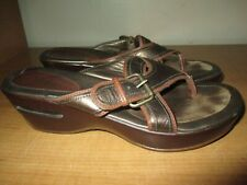 Cole Haan Air Women's Size 7.5 Leather Strap Buckle Sandals Bronze - Fast Ship