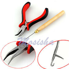 Cutting Pliers & Hook Needle Tools Kit for Hair Extensions Micro Rings Loop Bead