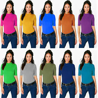 Women Ladies Trutle Polo Neck Top Short Sleeve High Neck T-Shirt Plus Size 8-26