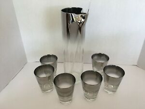 Vintage Smoked Glass Bar or Juice Glasses (Set of 6) + Pitcher + Stir Silver Fad