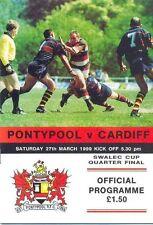 PONTYPOOL v CARDIFF 27 Mar 1999 RUGBY PROGRAMME WRU CUP QUARTER-FINAL