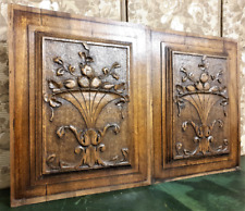 Solid pair fruit vase panel antique french scroll leaves architectural salvage