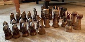 "Vintage D H Ceramic Chess Set Disinfected! 32 Pieces Complete! 4"" 1960s"