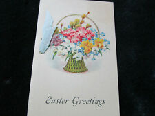 Vtg 1930's Art Deco Booklet Easter Greeting Card w/Silk Ribbon Signed
