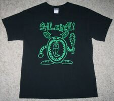 Large Gildan Silence! Black Green Tiki Guy Cotton Graphic Tee T-Shirt Mens Solid