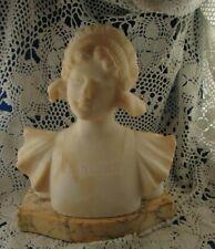 ancien buste de fillette XIXe en marbre ou albatre sur socle signé statue