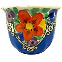 Vintage Hand Painted Art Pottery CZECH Flower Pot Planter CZECHOSLOVAKIA Bohemia