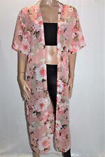 Ally Pink Floral Chiffon Longline Kimono One Size M/L BNWT #SG69