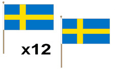 Sweden Waving Hand Flag 12 Pack Sweedish Decoration Swedish National Europe