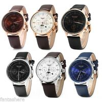 GUANQIN Luxury Men's Leather Band Sport Automatic Mechanical Steel Wrist Watch