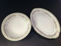 "MEITO PLATTER & SERVING BOWL KENWOOD SET OF 2. 12 1/2"" & 9"". PLATINUM TRIM ROSES"
