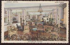 Postcard MIAMI Florida/FL  Urmey Hotel Wicker Furniture Lounge view 1930's