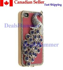 3D Diamante Bling Rhinestone Peacock Hard Case for iPhone 4  G 4S Pink  Free SHP