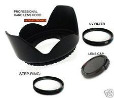 FLOWER HOOD+UV FILTER+LENS CAP 52 mm+STEP UP 43/52 For Canon HV20 HV30 HV40 HG10