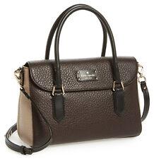 NWT Kate Spade Grove Court Small Leslie Satchel Crossbody Bag Ebony/Putty/Black