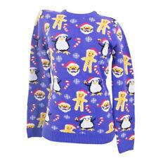 Ladies Christmas Jumper 3D Xmas Novelty HoHoHo Santa Elf Reindeer Snowman