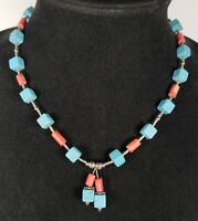 Vintage Southwestern Beaded Necklace Square and Tube Turquoise Coral Colors Nice